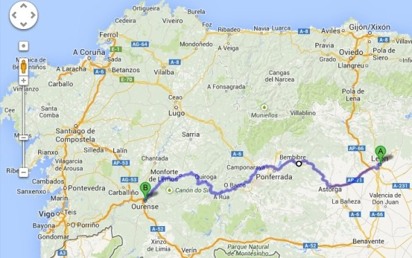 Recorrido León - Ourense