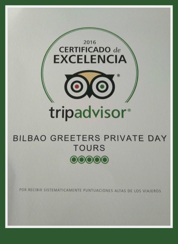 CertificadoExcelencia TripAdvisor-BilbaoGreeters